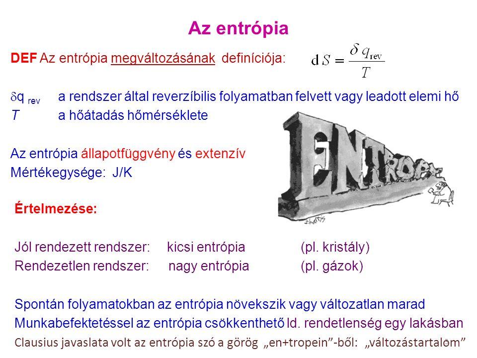 Az entrópia DEF Az entrópia megváltozásának definíciója:  q rev a rendszer által reverzíbilis folyamatban felvett vagy leadott elemi hő T a hőátadás hőmérséklete Az entrópia állapotfüggvény és extenzív Mértékegysége: J/K Értelmezése: Jól rendezett rendszer: kicsi entrópia (pl.