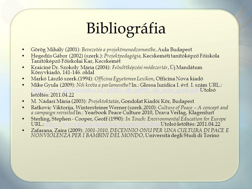 Bibliográfia Görög Mihály (2001): Bevezetés a projektmenedzsmentbe, Aula Budapest Hegedűs Gábor (2002) (szerk.): Projektpedagógia, Kecskeméti tanítóké