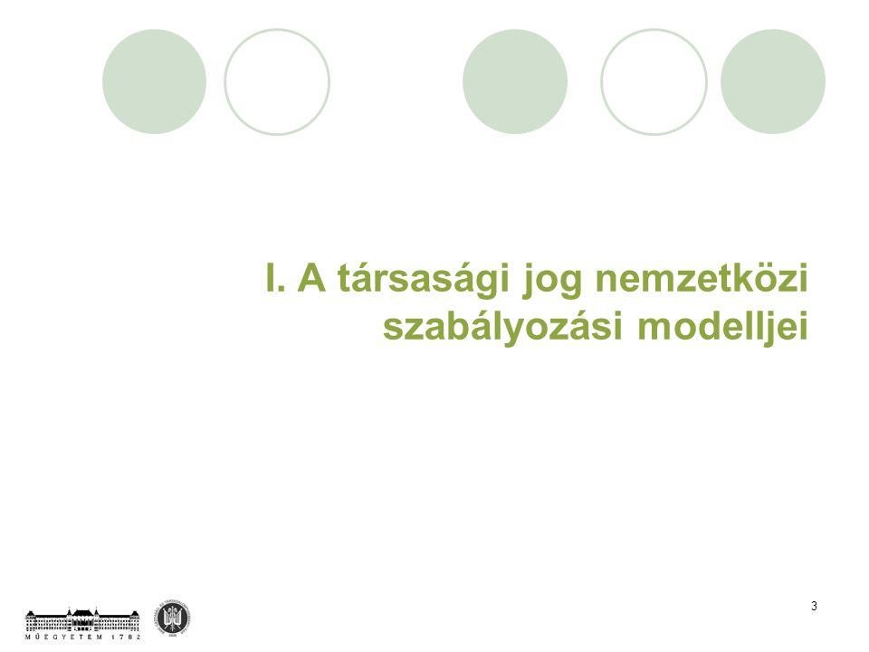 3 I. A társasági jog nemzetközi szabályozási modelljei