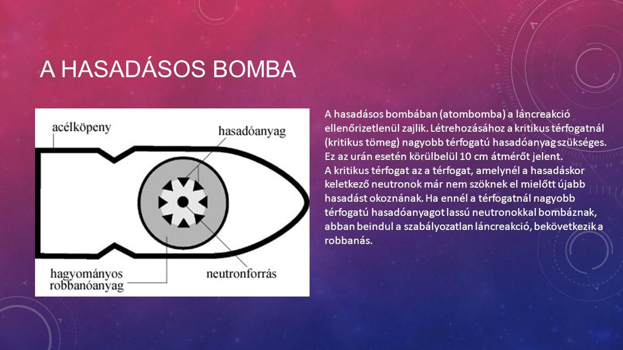 A HASADÁSOS BOMBA A hasadásos bombában (atombomba) a láncreakció ellenőrizetlenül zajlik.