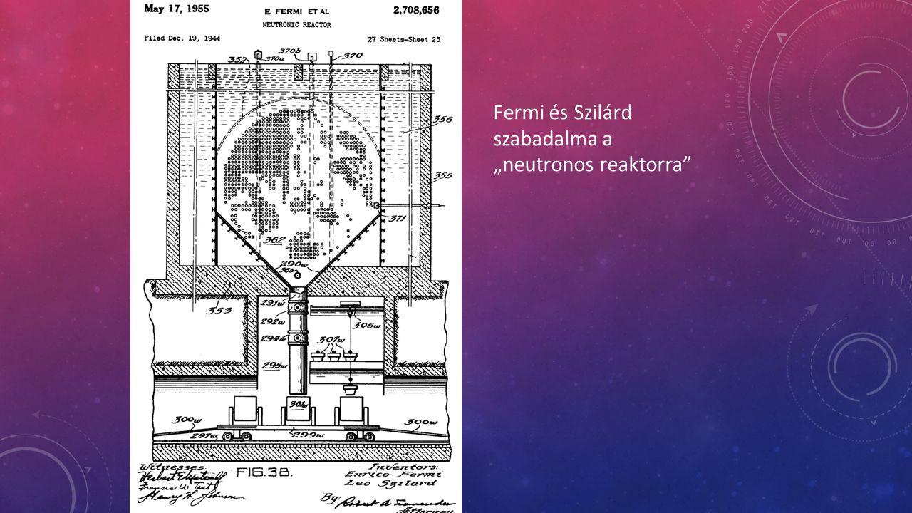 """Fermi és Szilárd szabadalma a """"neutronos reaktorra"""