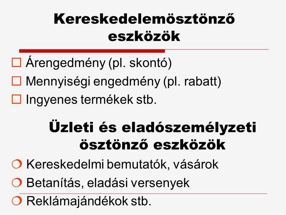 Kereskedelemösztönző eszközök  Árengedmény (pl. skontó)  Mennyiségi engedmény (pl.