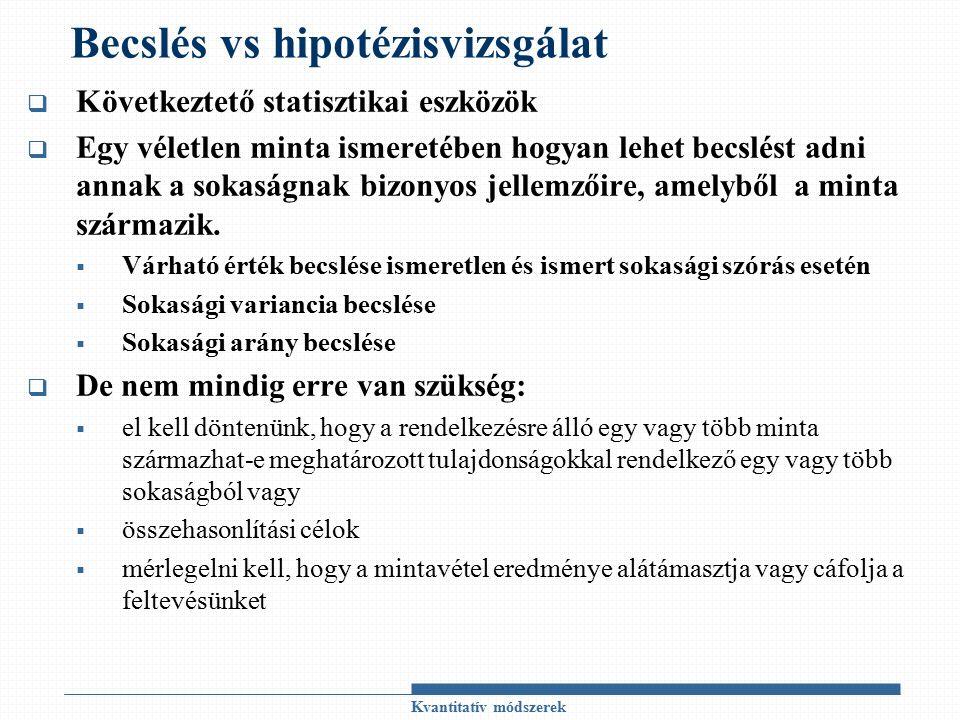 A hipotézisvizsgálat lényege  A vizsgálandó sokaságra vonatkozó ismereteink gyakran hiányosak és/vagy bizonytalanok  sejtésünket hipotézisként fogalmazzuk meg, amelynek igazságáról meg kell győződni  Hipotézis: sokasággal (!!!) kapcsolatos feltevés, amely vonatkozhat  A sokaság eloszlására  A sokaság eloszlásának egy vagy több paraméterére  Az állítások helyességéről kétféleképpen lehet meggyőződni: Teljes körű adatfelvételt végzünk Mintavétel eredményei alapján következtetünk MINTAVÉTELI INGADOZÁS, MINTAVÉTELI HIBA  Hipotézisvizsgálat: a sokaságra vonatkozó feltevés mintavételi eredményekre támaszkodó vizsgálata.