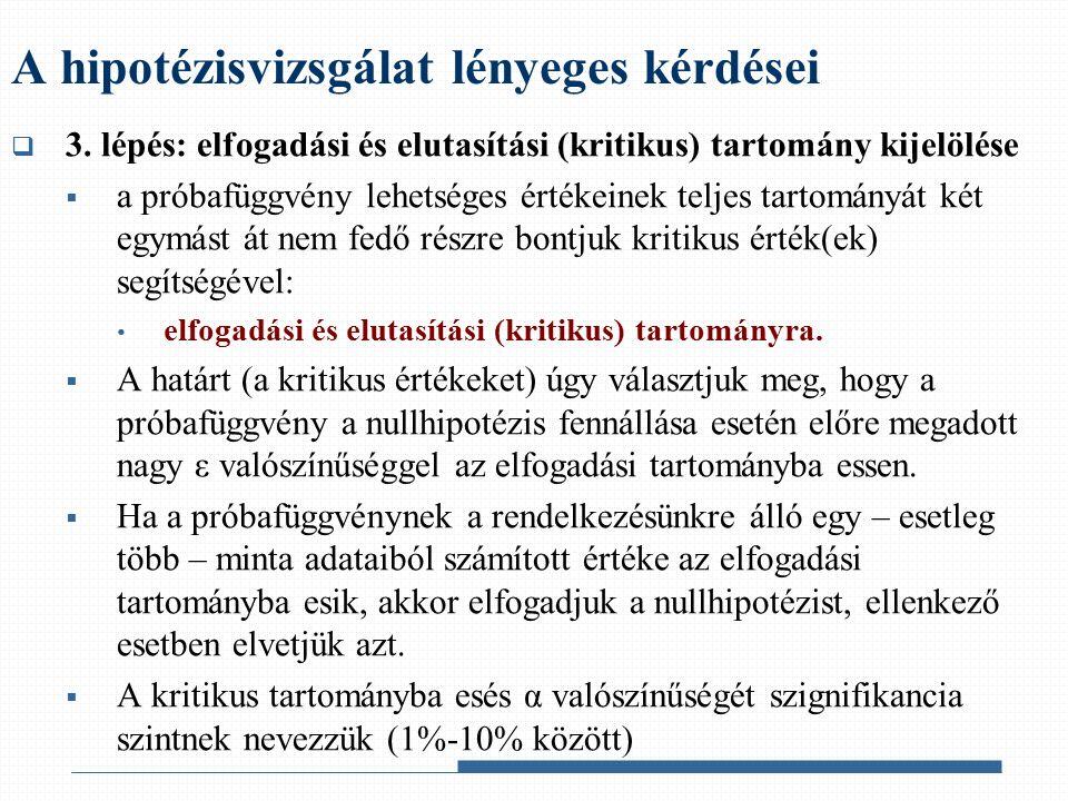  3. lépés: elfogadási és elutasítási (kritikus) tartomány kijelölése  a próbafüggvény lehetséges értékeinek teljes tartományát két egymást át nem fe