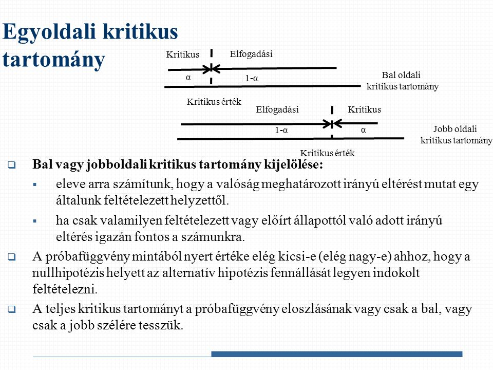  Kétoldali kritikus tartomány kijelölése:  csak a nullhipotézisben feltételezett helyzettől való eltérés ténye érdekel bennünket, és közömbös az eltérés iránya.
