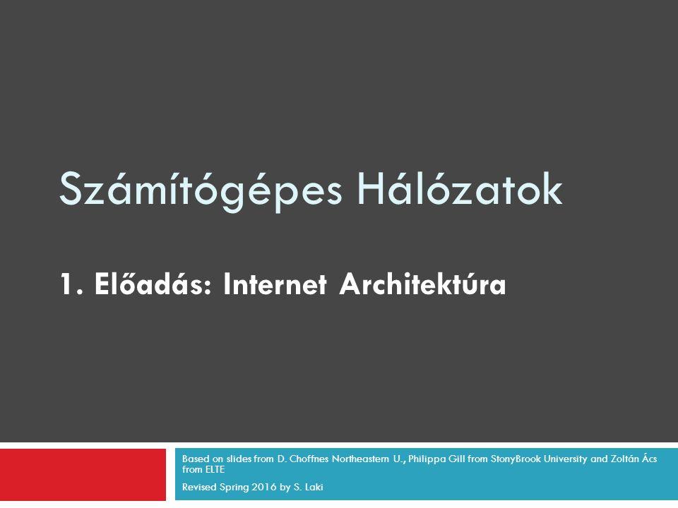 Számítógépes Hálózatok 1. Előadás: Internet Architektúra Based on slides from D. Choffnes Northeastern U., Philippa Gill from StonyBrook University an