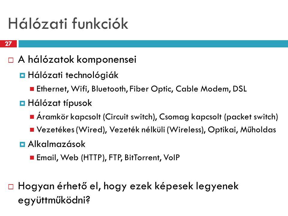 Hálózati funkciók 27  A hálózatok komponensei  Hálózati technológiák Ethernet, Wifi, Bluetooth, Fiber Optic, Cable Modem, DSL  Hálózat típusok Áram