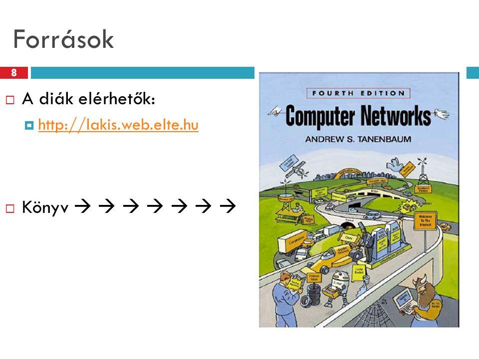 Források 8  A diák elérhetők:  http://lakis.web.elte.hu http://lakis.web.elte.hu  Könyv       