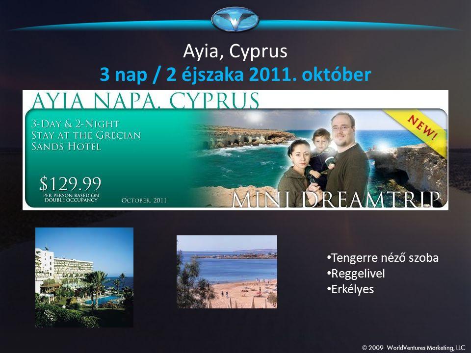 Ayia, Cyprus 3 nap / 2 éjszaka 2011. október Tengerre néző szoba Reggelivel Erkélyes