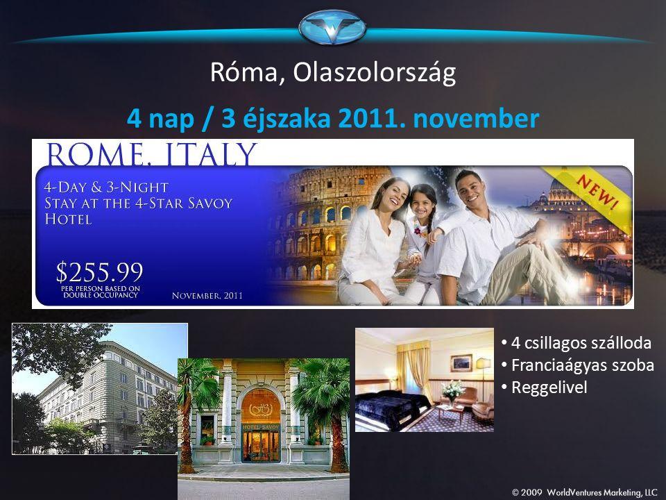 Róma, Olaszolország 4 nap / 3 éjszaka 2011. november 4 csillagos szálloda Franciaágyas szoba Reggelivel