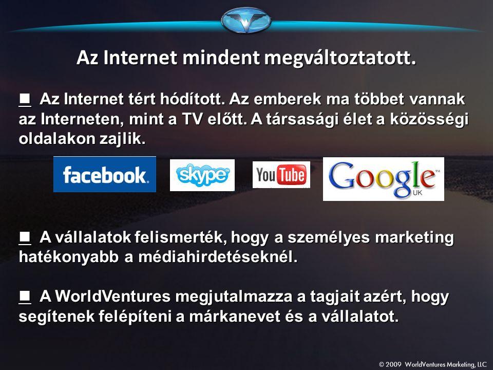 Az Internet mindent megváltoztatott. Az Internet tért hódított. Az emberek ma többet vannak az Interneten, mint a TV előtt. A társasági élet a közössé
