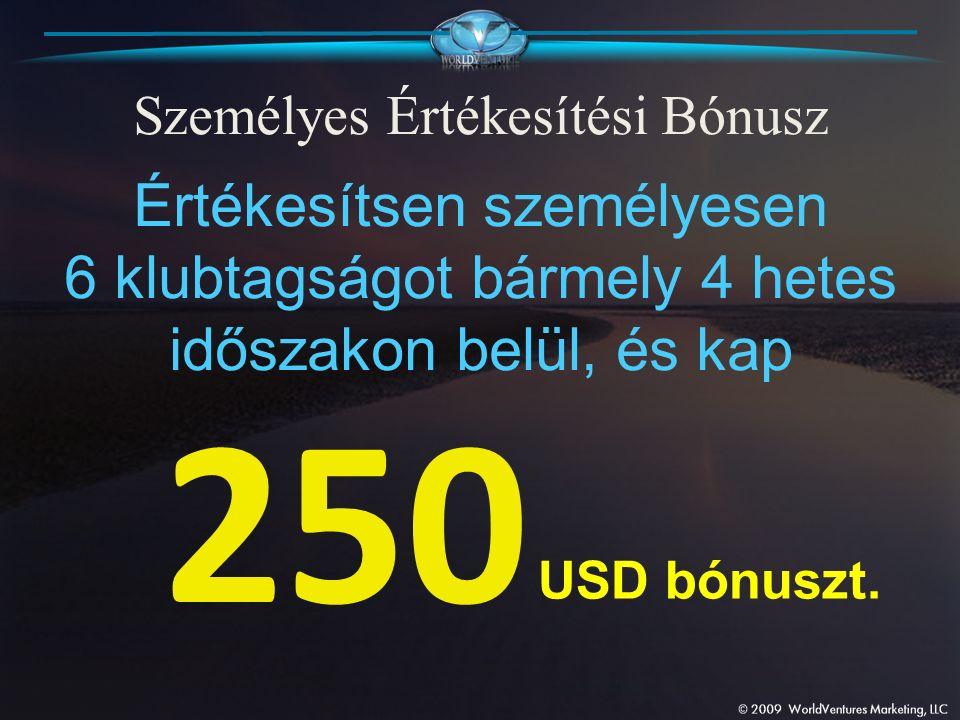 Személyes Értékesítési Bónusz Értékesítsen személyesen 6 klubtagságot bármely 4 hetes időszakon belül, és kap 250 USD bónuszt.