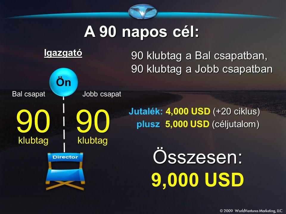 9090 klubtag klubtag A 90 napos cél: 90 klubtag a Bal csapatban, Igazgató plusz (céljutalom) plusz 5,000 USD (céljutalom) 90 klubtag a Jobb csapatban