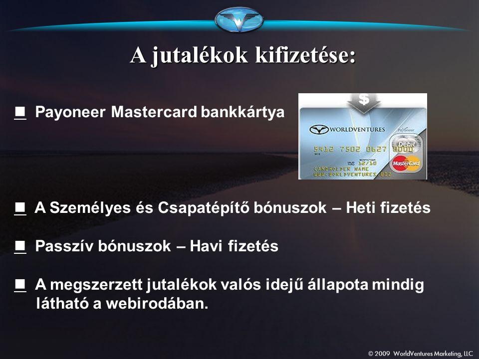 Payoneer Mastercard bankkártya A Személyes és Csapatépítő bónuszok – Heti fizetés Passzív bónuszok – Havi fizetés A megszerzett jutalékok valós idejű