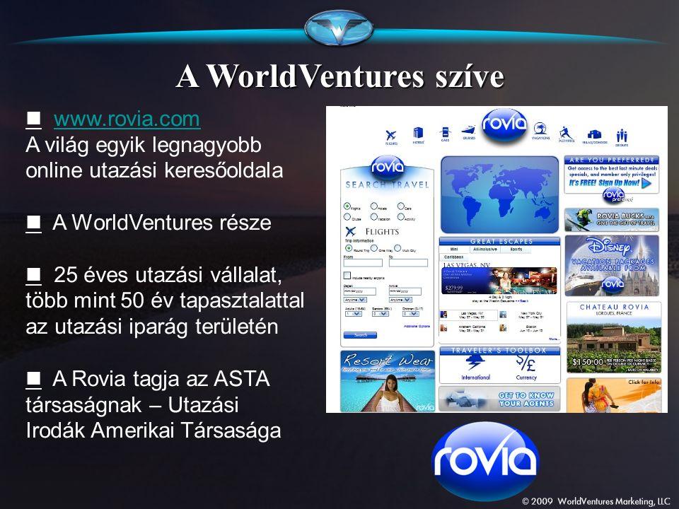 A WorldVentures szíve www.rovia.com A világ egyik legnagyobb online utazási keresőoldalawww.rovia.com A WorldVentures része 25 éves utazási vállalat,