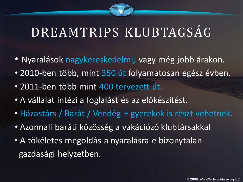 DREAMTRIPS KLUBTAGSÁG Nyaralások nagykereskedelmi, vagy még jobb árakon. 2010-ben több, mint 350 út folyamatosan egész évben. 2011-ben több mint 400 t