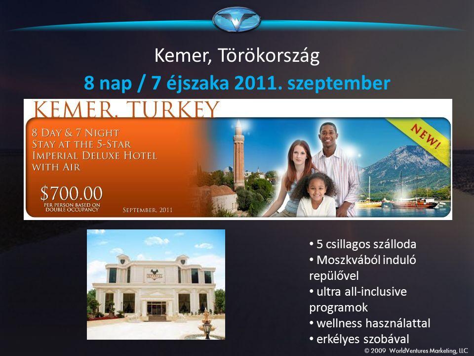Kemer, Törökország 8 nap / 7 éjszaka 2011. szeptember 5 csillagos szálloda Moszkvából induló repülővel ultra all-inclusive programok wellness használa