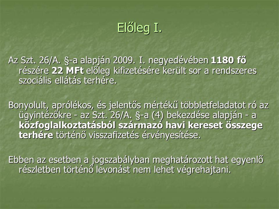 Előleg I. Az Szt. 26/A. §-a alapján 2009. I.