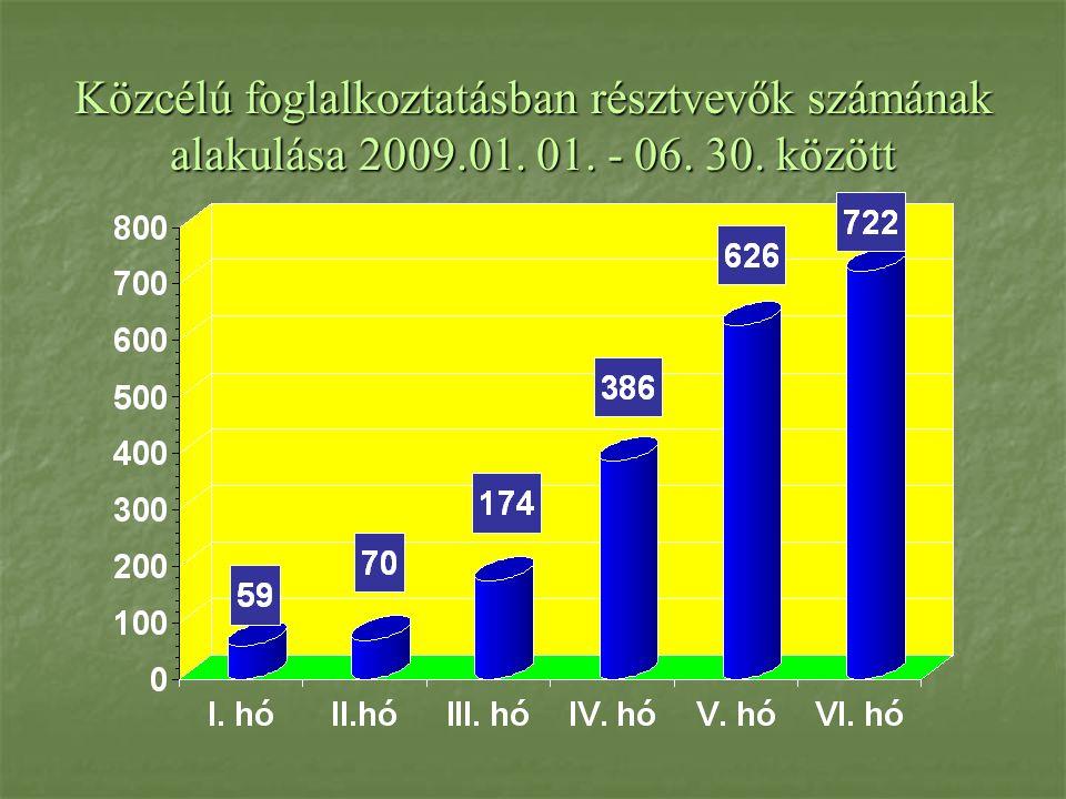 Közcélú foglalkoztatásban résztvevők számának alakulása 2009.01. 01. - 06. 30. között