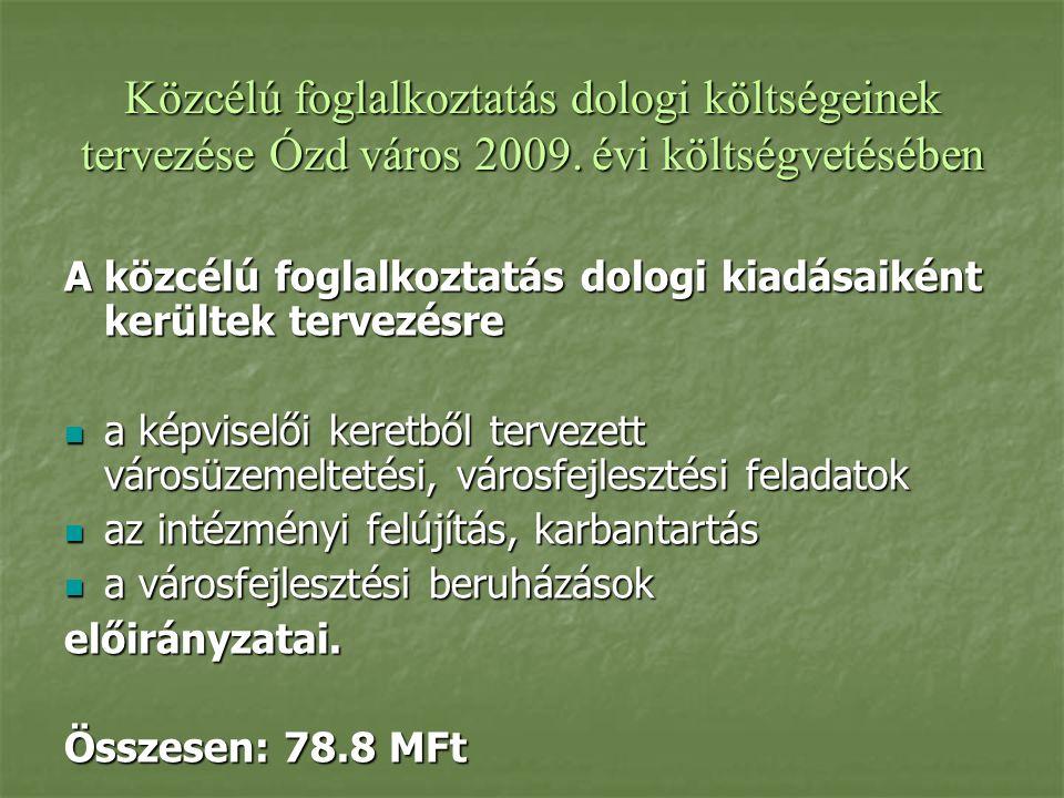 Közcélú foglalkoztatás dologi költségeinek tervezése Ózd város 2009.