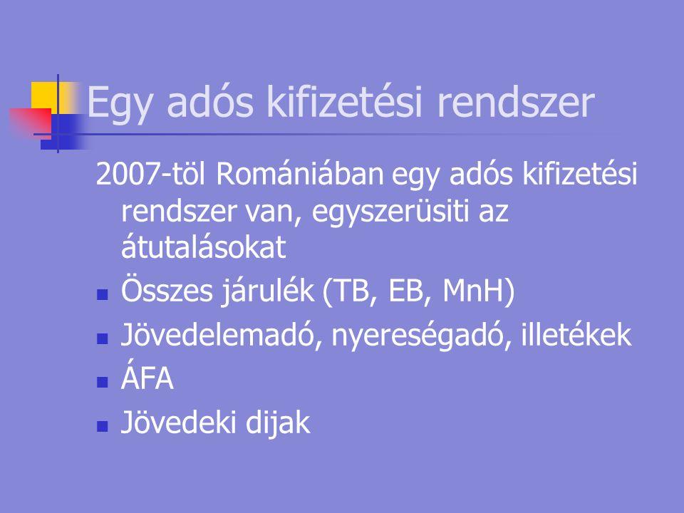 Egy adós kifizetési rendszer 2007-töl Romániában egy adós kifizetési rendszer van, egyszerüsiti az átutalásokat Összes járulék (TB, EB, MnH) Jövedelemadó, nyereségadó, illetékek ÁFA Jövedeki dijak