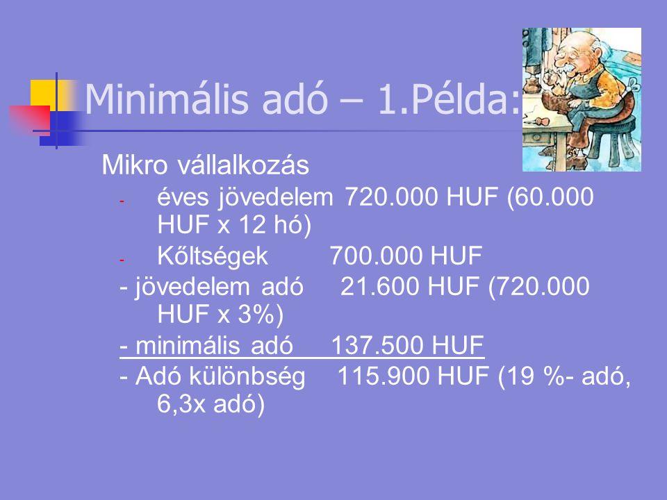 Minimális adó – 1.Példa: Mikro vállalkozás - éves jövedelem 720.000 HUF (60.000 HUF x 12 hó) - Kőltségek 700.000 HUF - jövedelem adó 21.600 HUF (720.000 HUF x 3%) - minimális adó 137.500 HUF - Adó különbség 115.900 HUF (19 %- adó, 6,3x adó)