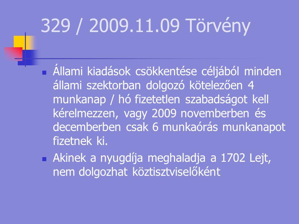 329 / 2009.11.09 Törvény Állami kiadások csökkentése céljából minden állami szektorban dolgozó kötelezően 4 munkanap / hó fizetetlen szabadságot kell kérelmezzen, vagy 2009 novemberben és decemberben csak 6 munkaórás munkanapot fizetnek ki.