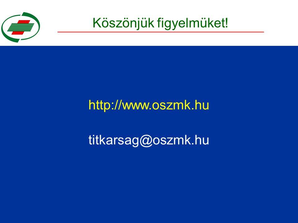 Köszönjük figyelmüket! http://www.oszmk.hu titkarsag@oszmk.hu