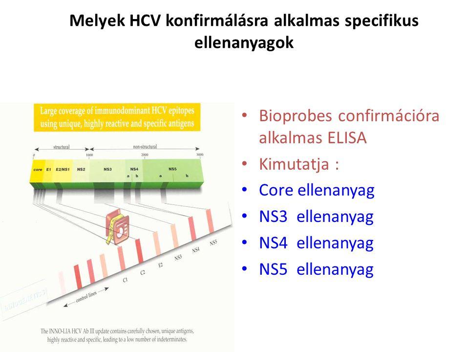 Melyek HCV konfirmálásra alkalmas specifikus ellenanyagok Bioprobes confirmációra alkalmas ELISA Kimutatja : Core ellenanyag NS3 ellenanyag NS4 ellenanyag NS5 ellenanyag