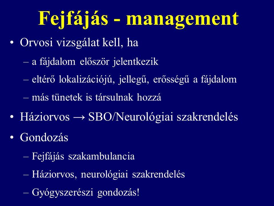 Fejfájás - management Orvosi vizsgálat kell, ha –a fájdalom először jelentkezik –eltérő lokalizációjú, jellegű, erősségű a fájdalom –más tünetek is társulnak hozzá Háziorvos → SBO/Neurológiai szakrendelés Gondozás –Fejfájás szakambulancia –Háziorvos, neurológiai szakrendelés –Gyógyszerészi gondozás!