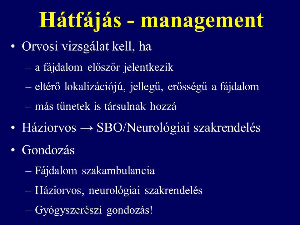 Hátfájás - management Orvosi vizsgálat kell, ha –a fájdalom először jelentkezik –eltérő lokalizációjú, jellegű, erősségű a fájdalom –más tünetek is társulnak hozzá Háziorvos → SBO/Neurológiai szakrendelés Gondozás –Fájdalom szakambulancia –Háziorvos, neurológiai szakrendelés –Gyógyszerészi gondozás!