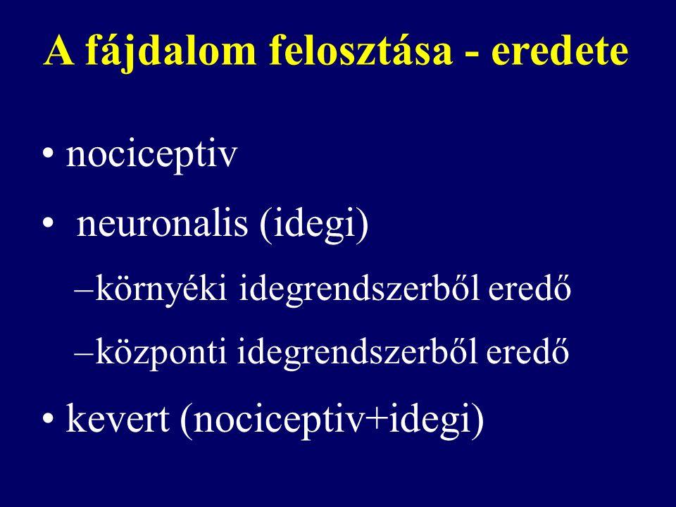A fájdalom felosztása - eredete nociceptiv neuronalis (idegi) –környéki idegrendszerből eredő –központi idegrendszerből eredő kevert (nociceptiv+idegi)