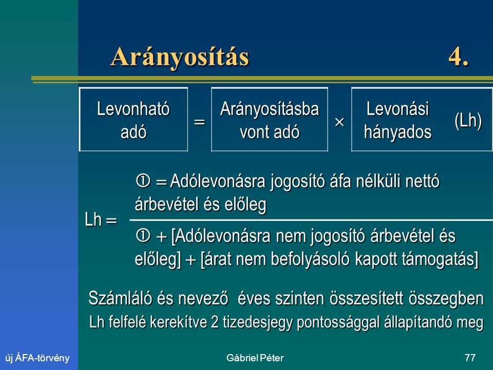 Gábriel Péter77új ÁFA-törvény Arányosítás 4.