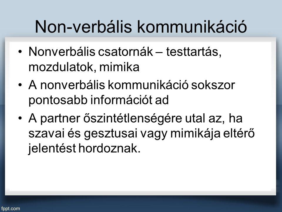 Non-verbális kommunikáció Nonverbális csatornák – testtartás, mozdulatok, mimika A nonverbális kommunikáció sokszor pontosabb információt ad A partner őszintétlenségére utal az, ha szavai és gesztusai vagy mimikája eltérő jelentést hordoznak.