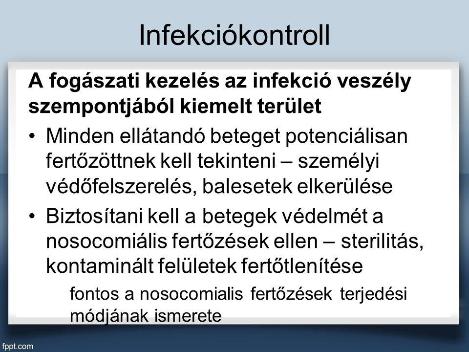 Infekciókontroll A fogászati kezelés az infekció veszély szempontjából kiemelt terület Minden ellátandó beteget potenciálisan fertőzöttnek kell tekinteni – személyi védőfelszerelés, balesetek elkerülése Biztosítani kell a betegek védelmét a nosocomiális fertőzések ellen – sterilitás, kontaminált felületek fertőtlenítése fontos a nosocomialis fertőzések terjedési módjának ismerete