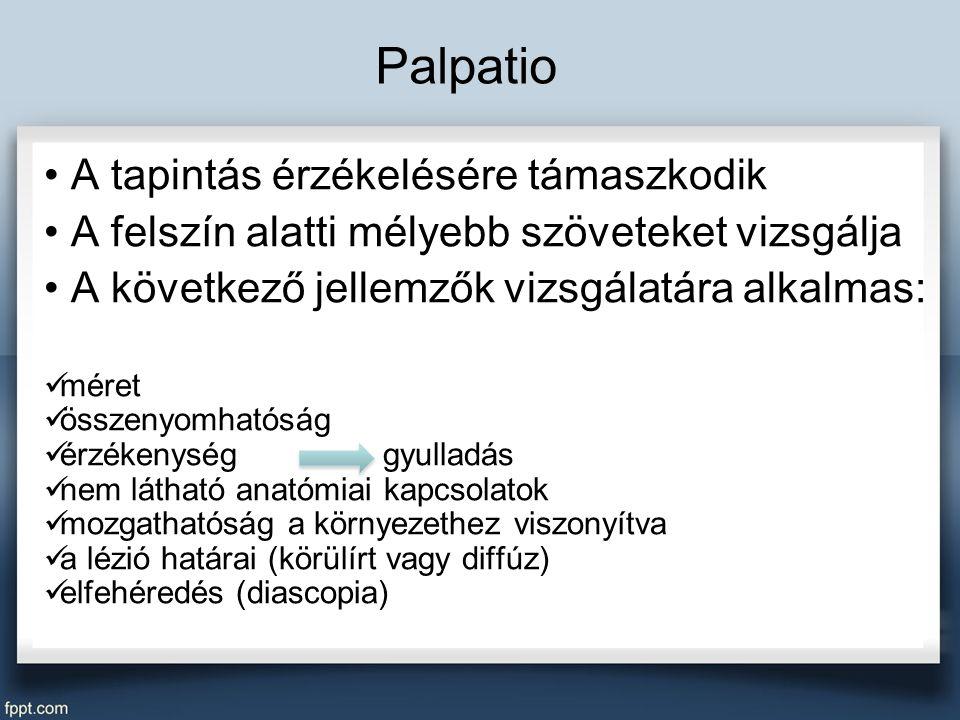 Palpatio A tapintás érzékelésére támaszkodik A felszín alatti mélyebb szöveteket vizsgálja A következő jellemzők vizsgálatára alkalmas: méret összenyomhatóság érzékenység gyulladás nem látható anatómiai kapcsolatok mozgathatóság a környezethez viszonyítva a lézió határai (körülírt vagy diffúz) elfehéredés (diascopia)