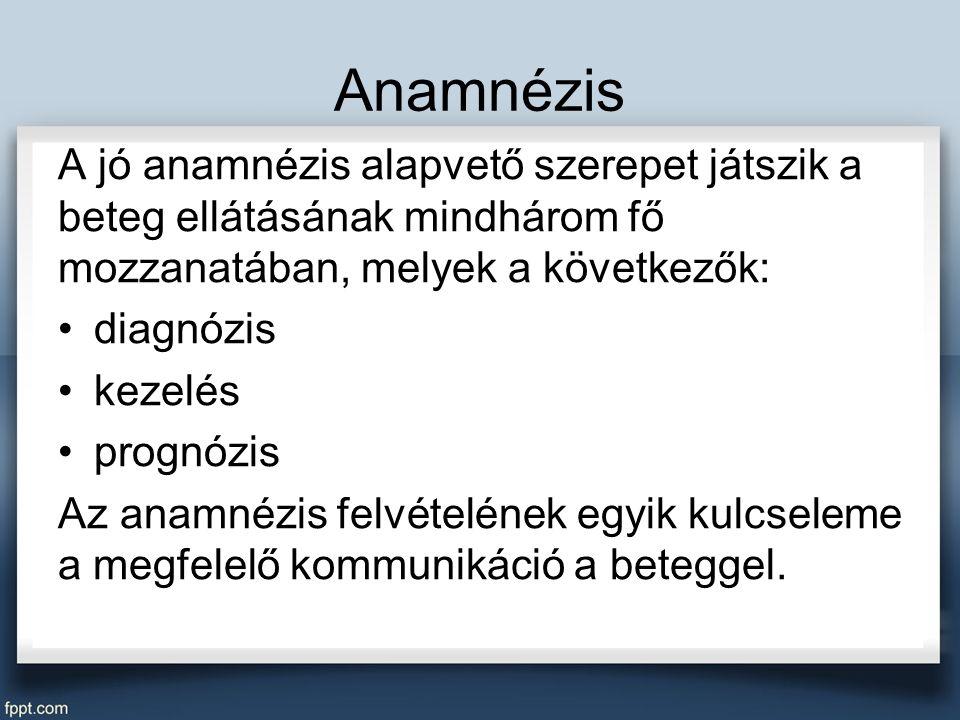 Anamnézis A jó anamnézis alapvető szerepet játszik a beteg ellátásának mindhárom fő mozzanatában, melyek a következők: diagnózis kezelés prognózis Az anamnézis felvételének egyik kulcseleme a megfelelő kommunikáció a beteggel.