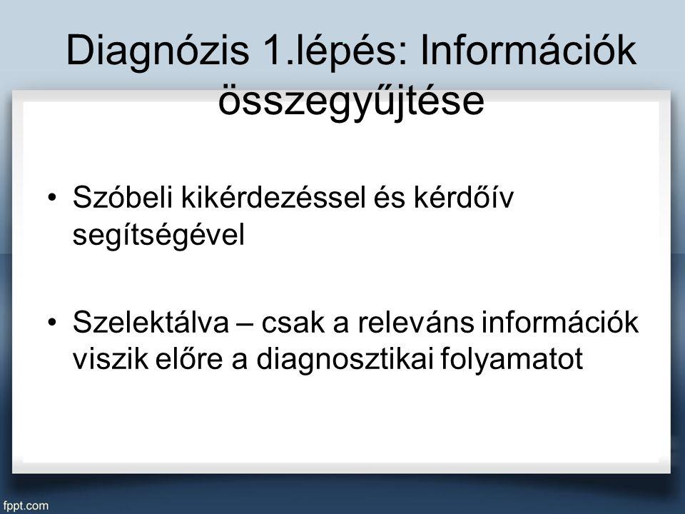 Diagnózis 1.lépés: Információk összegyűjtése Szóbeli kikérdezéssel és kérdőív segítségével Szelektálva – csak a releváns információk viszik előre a diagnosztikai folyamatot