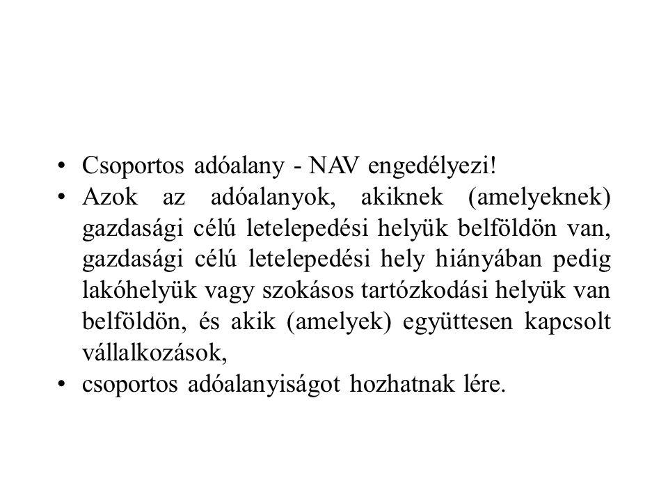 Csoportos adóalany - NAV engedélyezi.