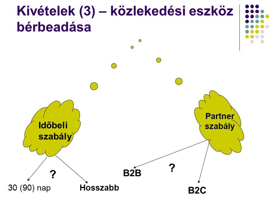Kivételek (3) – közlekedési eszköz bérbeadása Időbeli szabály Partner szabály B2B B2C .