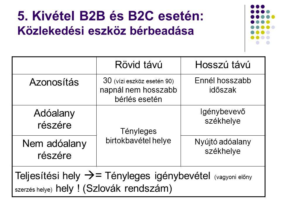5. Kivétel B2B és B2C esetén: Közlekedési eszköz bérbeadása Rövid távúHosszú távú Azonosítás 30 (vízi eszköz esetén 90) napnál nem hosszabb bérlés ese