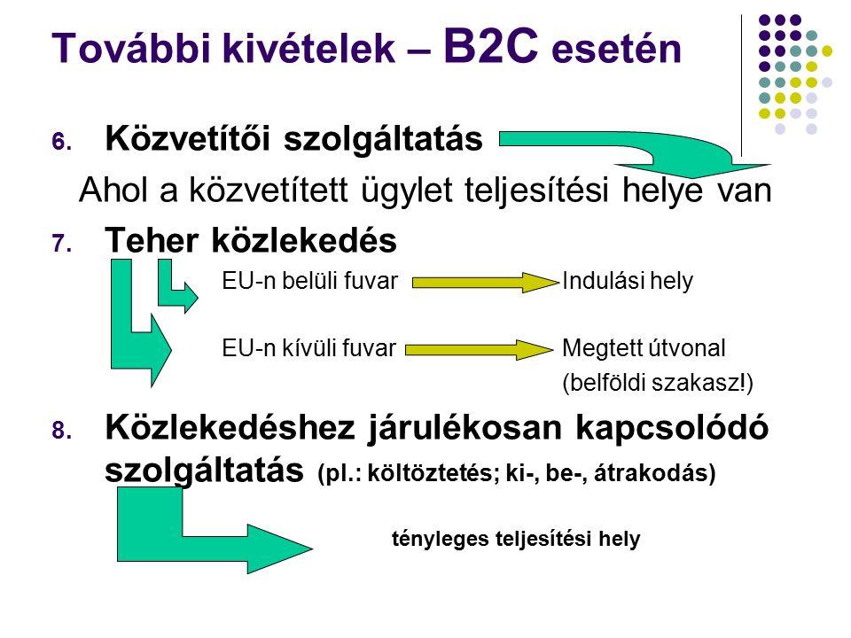 További kivételek – B2C esetén 6.