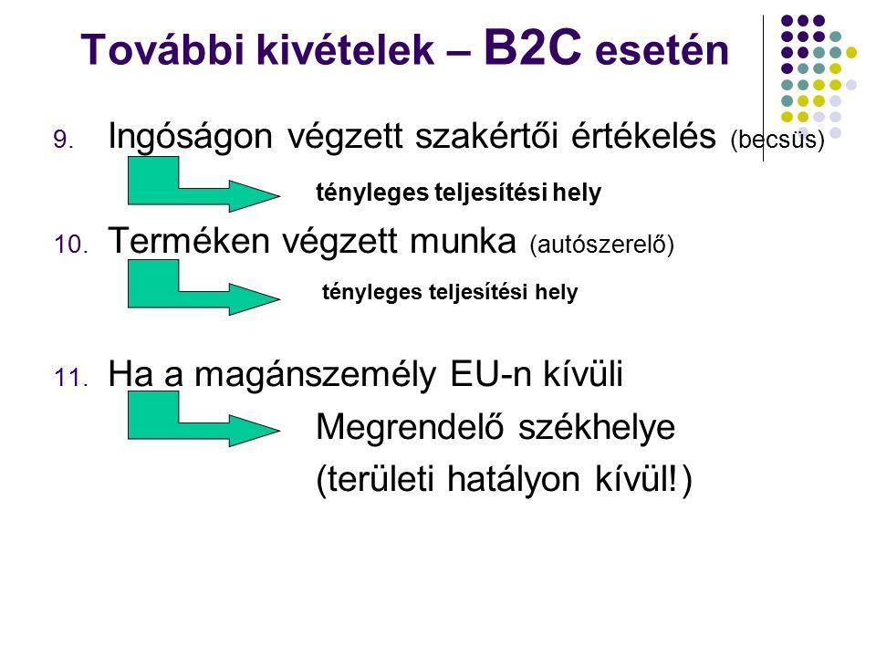 További kivételek – B2C esetén 9.
