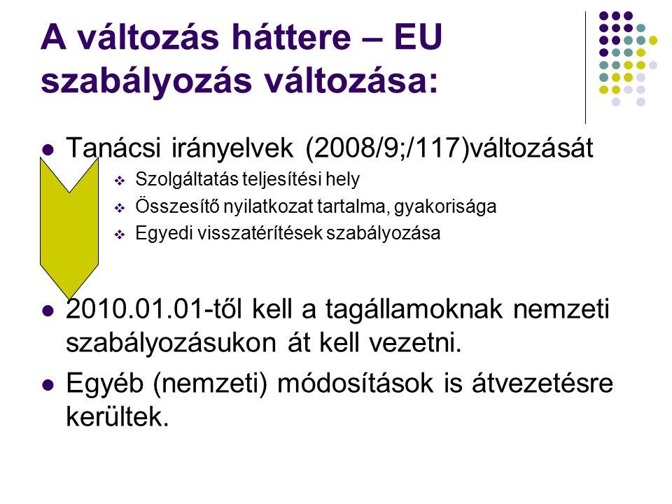 A változás háttere – EU szabályozás változása: Tanácsi irányelvek (2008/9;/117)változását  Szolgáltatás teljesítési hely  Összesítő nyilatkozat tartalma, gyakorisága  Egyedi visszatérítések szabályozása 2010.01.01-től kell a tagállamoknak nemzeti szabályozásukon át kell vezetni.