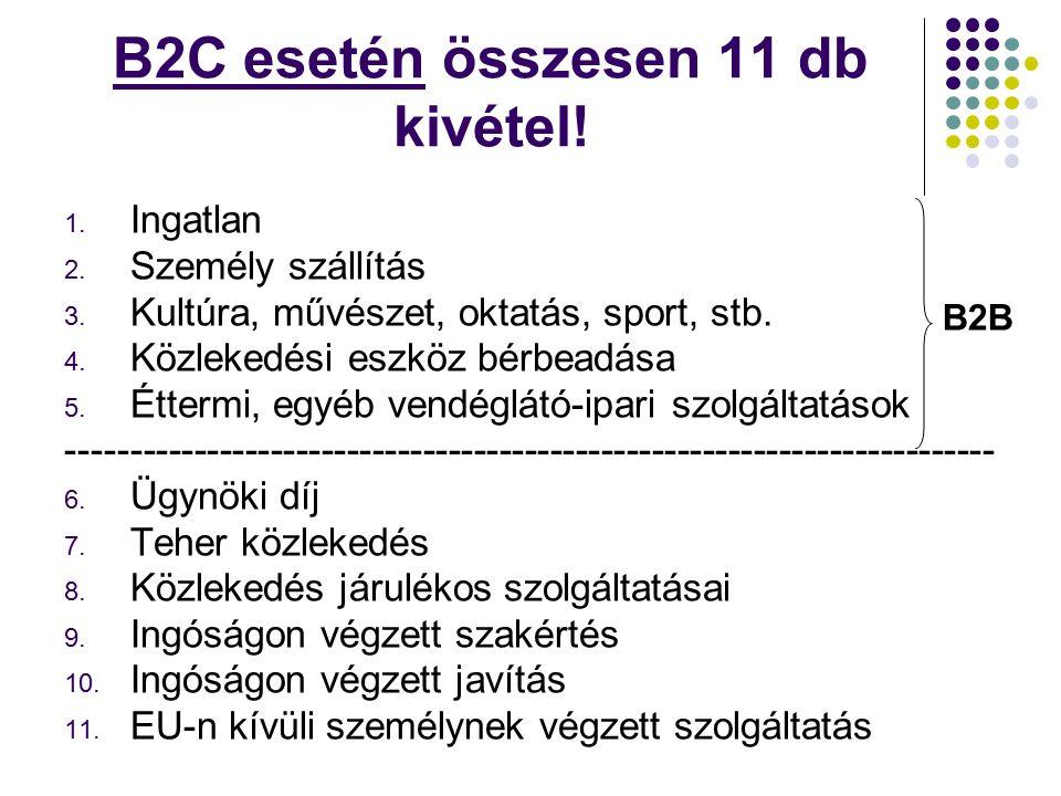 B2C esetén összesen 11 db kivétel. 1. Ingatlan 2.