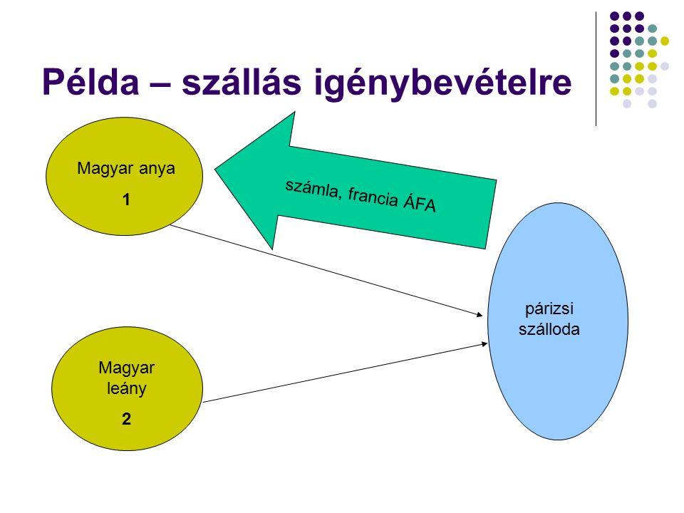 Példa – szállás igénybevételre Magyar anya 1 Magyar leány 2 párizsi szálloda számla, francia ÁFA
