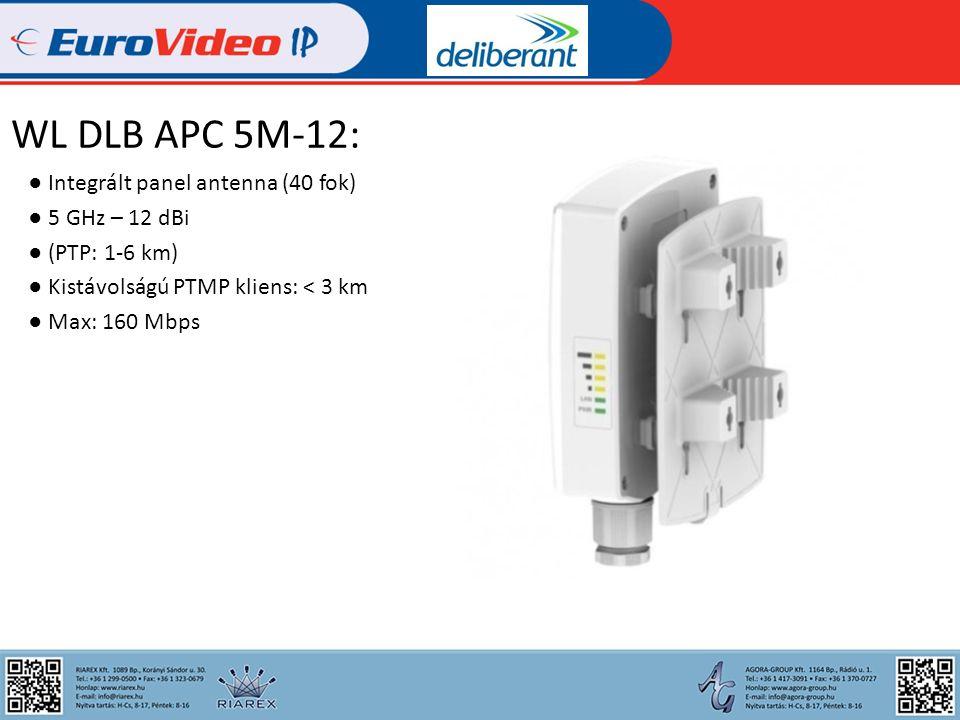 WL DLB APC 5M-18: ● Integrált panel antenna (16 fok) ● 5 GHz – 18 dBi ● (PTP: 2-15 km) ● Kis- és közepes távolságú PTMP kliens: < 7 km ● Max: 160 Mbps