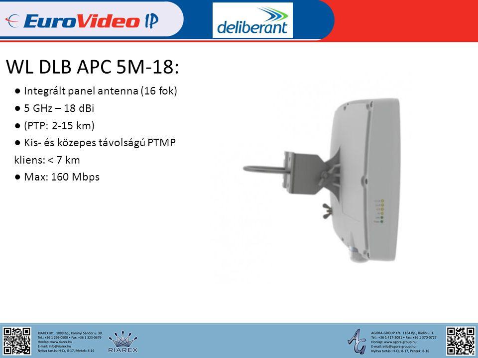 WL DLB APC 5M-90: ● Költséghatékony ● Integrált 90 fokos szektor antenna ● 5 GHz – 20 dBi ● PTMP ● Kis- és középtávolságú bázisállomás ● < 7 km ● Max: 160 Mbps