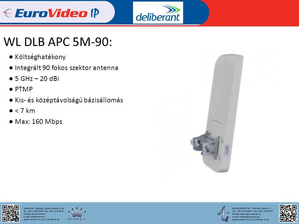 WL DLB APC 5M: ● Rugalmas felhasználás ● 2 x N csatlakozó ● 5 GHz ● PTP / PTMP ● Bázis / kliens ● Nagy távolság: > 10 km ● Max: 160 Mbps
