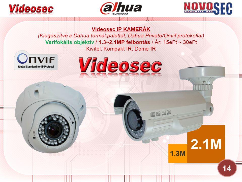 Videosec IP KAMERÁK (Kiegészítve a Dahua termékpalettát, Dahua Private/Onvif protokollal) Varifokális objektív / 1.3~2.1MP felbontás / Ár: 15eFt ~ 30e